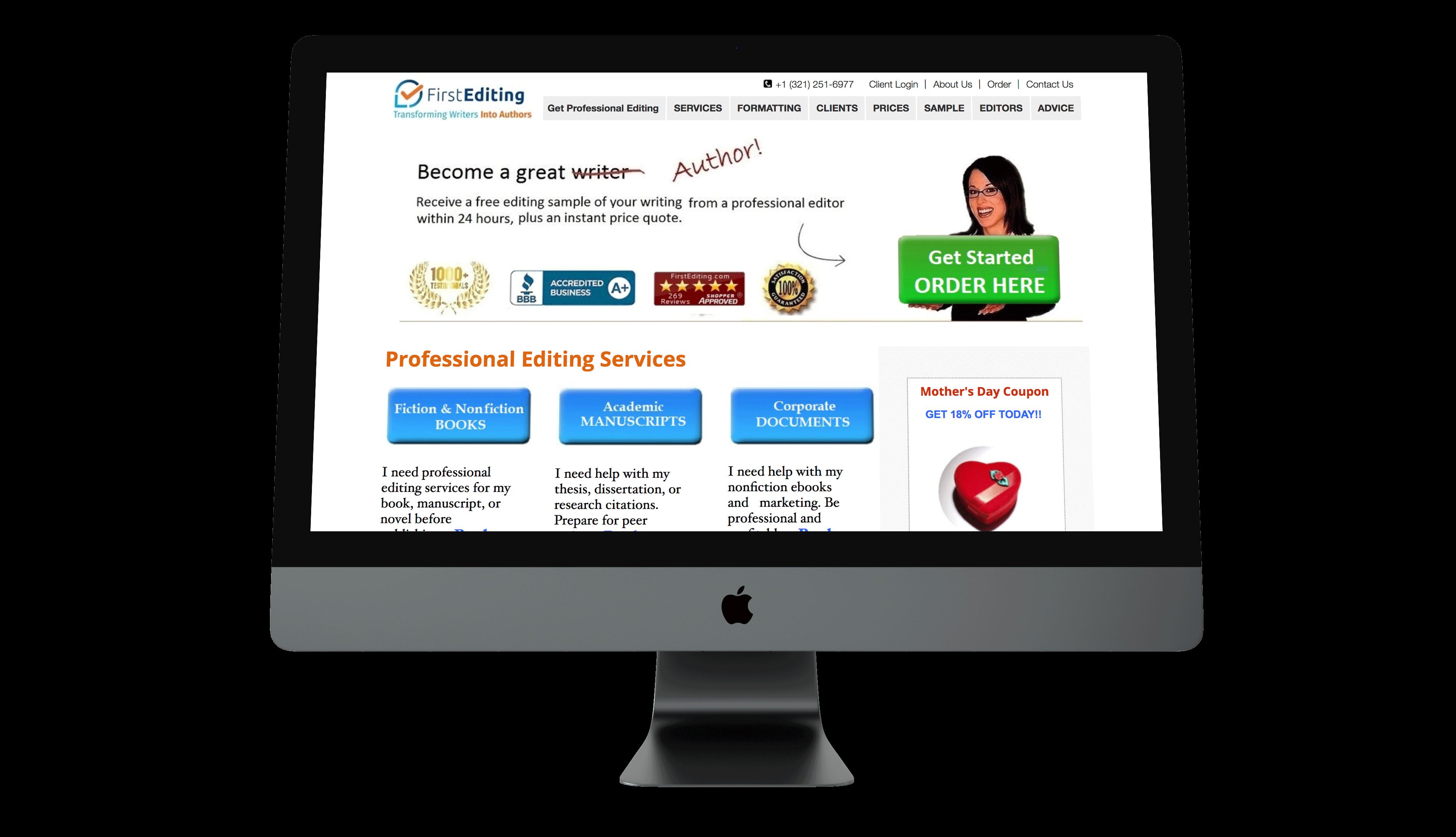 Old website mockup