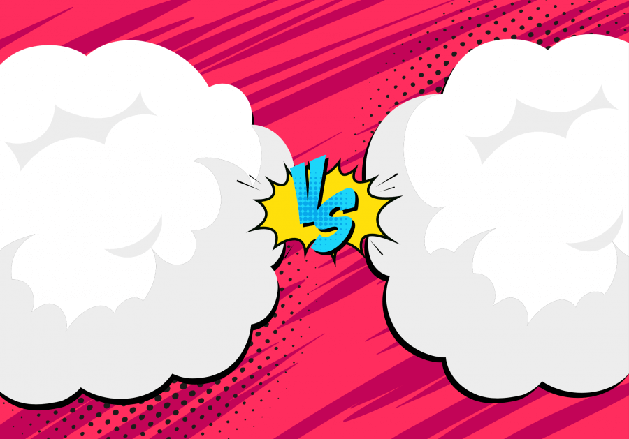 Cartoon clouds with text that says 'vs'